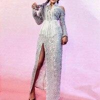High End знаменитости шоу на сцене одежда Кристаллы Бисероплетение с открытыми плечами длинные Сплит кисточкой платья ночной клуб DJ певица кос