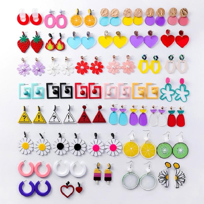 Acrylic Dangle Earrings Jewelry-Accessories Lemon Geometric Strawberry Korean-Fashion