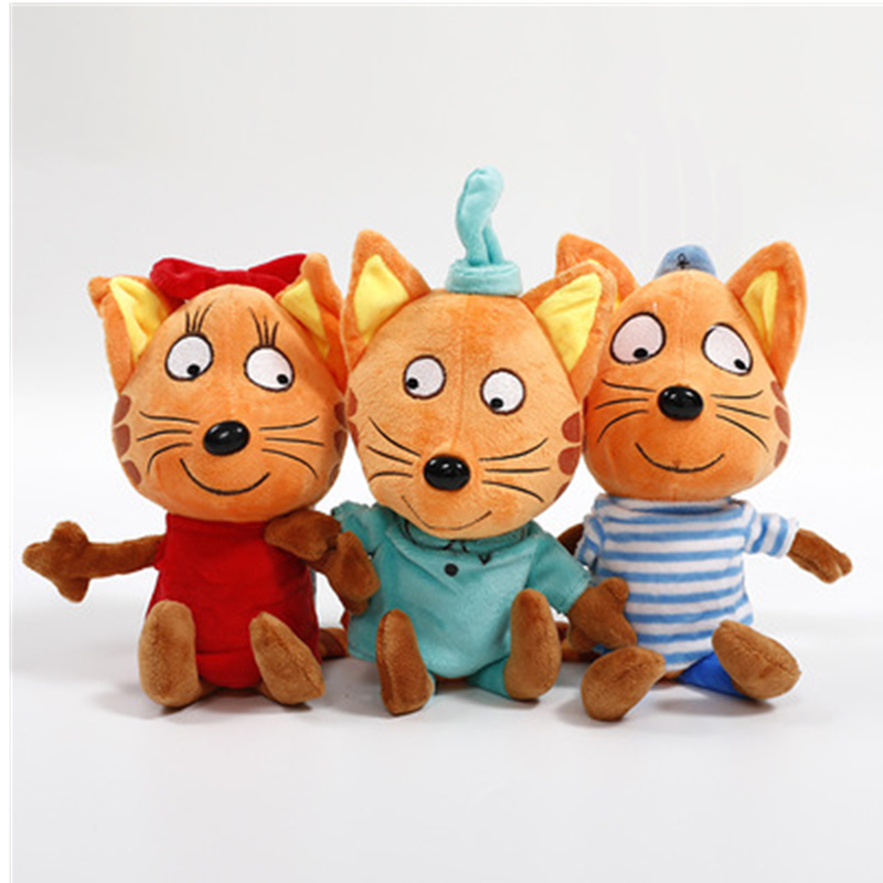 2018 Russian Cartoon cats Happy Kittens Stuffed Plush Toys Soft Animals Cat girts Toy Doll Gifts for Kids shipping from russia