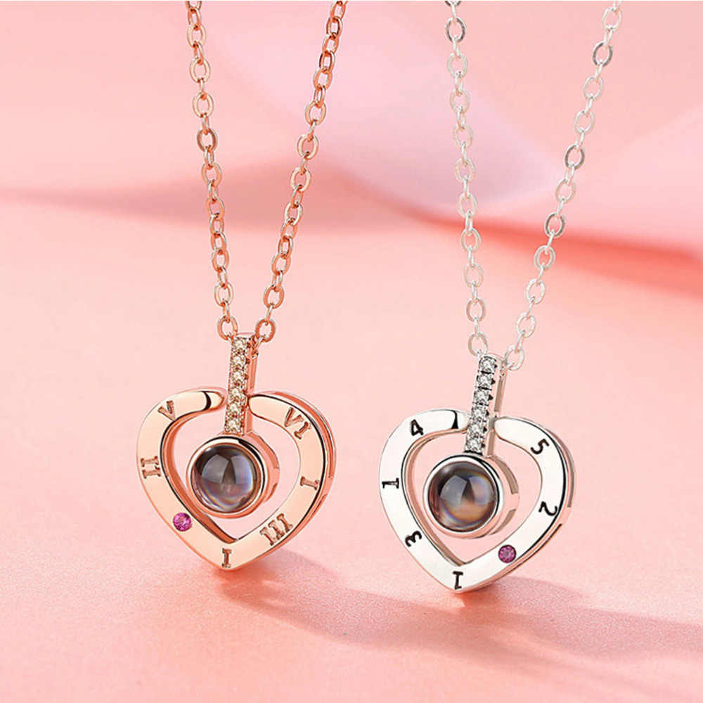 M MISM Rose Gold&Silver 100 languages I love you Projection Pendant Necklace Romantic Love Memory Wedding Necklace Gift for GF