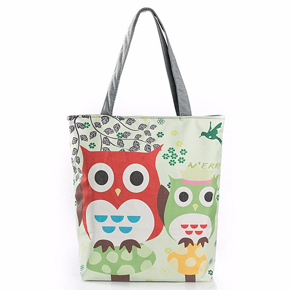 Cartoon Owl Stampato Tote Canvas Beach Bag Daily Use Single Shoulder Shopping Bags