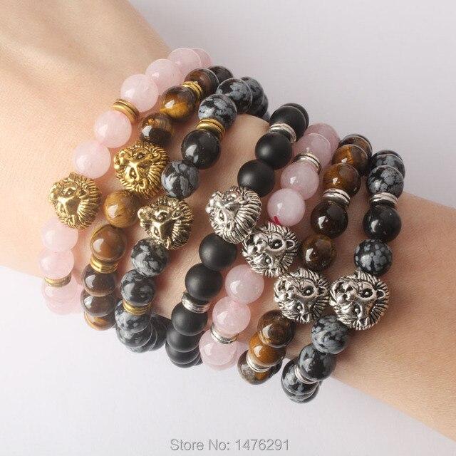 079296fe3ae Mix Stone Rose Pink crystal Snowy Obsidian Tiger Eye Volcanic Stone 8MM  Metal Lion head bracelet 7