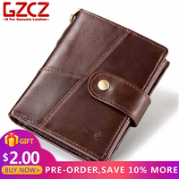 GZCZ Male Purse genuine leather slim men wallet rfid Credit Card Holder APP Connected Anti Theft Vallet for men cartera hombre
