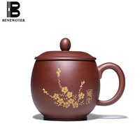 380cc Yixing Purple Clay Cup Plum Flower Pattern Cup With Lid Kit Large Capacity Drinkware Natural