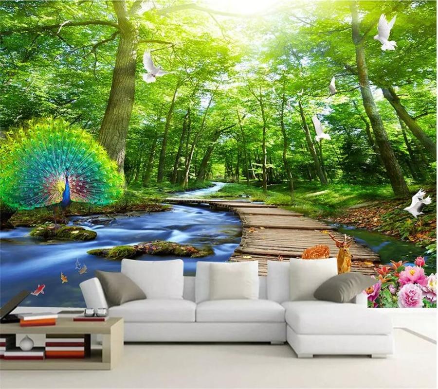 Wellyu Custom Wallpaper 3d Stereo Photo Mural Water Flowing Landscape Papel De Pared Living Room Bedroom Mural 3d обои Wallpaper