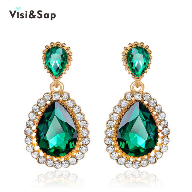 Visisap Luxury Russia Green Water Stone Earrings For Women Wedding Bijoux Earring Yellow Gold Color Vintage