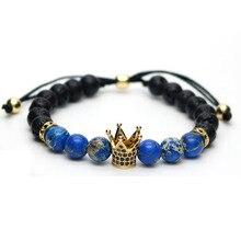 8mm micro pave cz chapado en oro cz rey crown charm pulsera azul piedra de jaspe de cuentas macrame pulseras pulseira masculina t-2