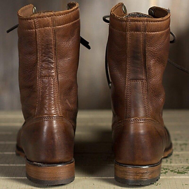 Salto Lettbao Baixo Inverno Plus Mid calf Da Motocicleta Dos Masculina Couro Moda Marrom Homens De Sapatos Outono 48 Size Para Botas Deserto qFfgq