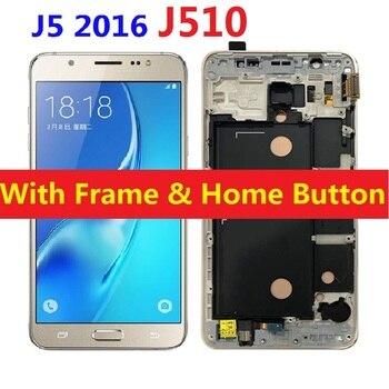 Para Samsung Galaxy J5 2016 J510F J510F/J510H DS/DS J510FN J510M Display LCD Digitador Da Tela de Toque Do Sensor com Botão Home Quadro