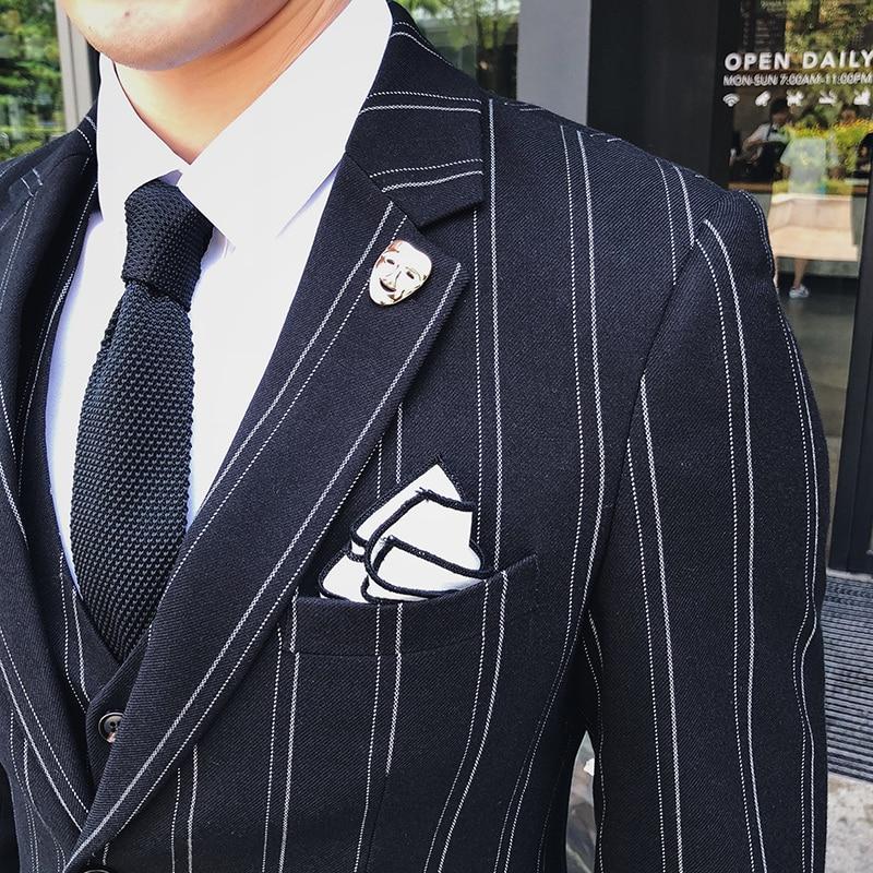 Clásico Boda azul Hombre Banquete Negro Negro Chaleco Marino Negocios Pantalones Hombres Chaqueta Trajes Rayas Vestido De rqrWcgUyS