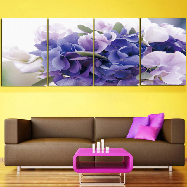 4 Panel Pictures Canvas prints Painting red Flower Painting Wall Art ...
