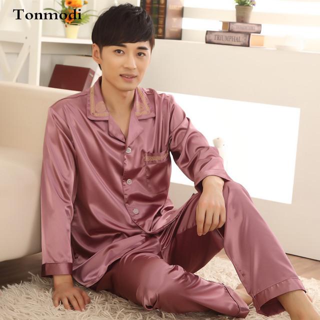 Pijamas de seda de Los Hombres otoño de Espesor Completo Conjuntos Salón Pijama de Seda Pijamas Hombre Flojo XXXL