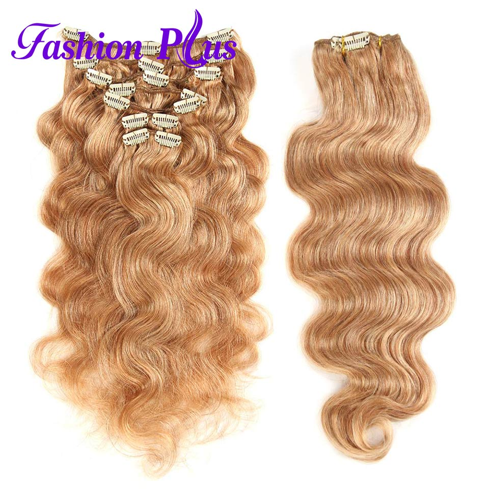 Fashion Plus Clip In Human Hair Extensions 120g Machine Made Remy Hair Body Wave 7Pcs/Set Clips In 100% Human Hair 18-20inches