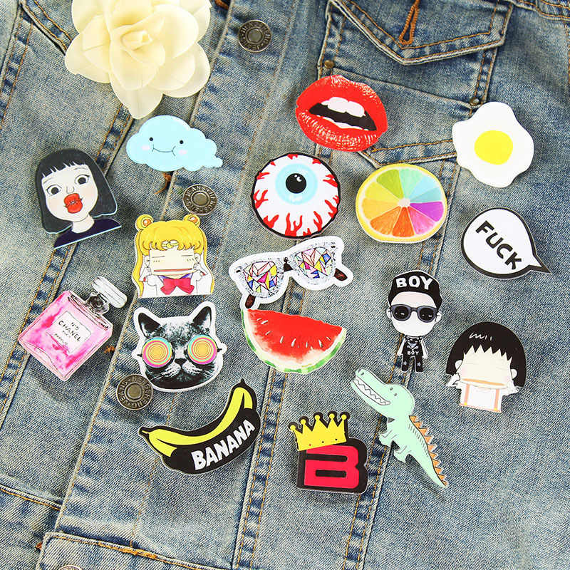 2018 Harajuku Japan Hot Cartoon pet figure Acrylic pin Badges Unisex Cute Fashion Mini Brooches Anime Icons Colorful Badges Gift
