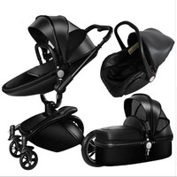 Baby stroller 3 in 1 eco leather authentic strollers widen the sleeping basket simple baby car seat Russia free shipping