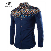 2017 New Brand Dress Men Shirt Long Sleeve Cotton Male Business Casual Folk-Custom Printed Fashion Formal Shirts Slim