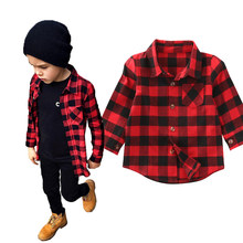 2017 Kid Long Sleeve Plaids Shirts Child Kids Boys Girl Unisex Shirt Plaid Check Tops Blouse Casual Clothes(China)