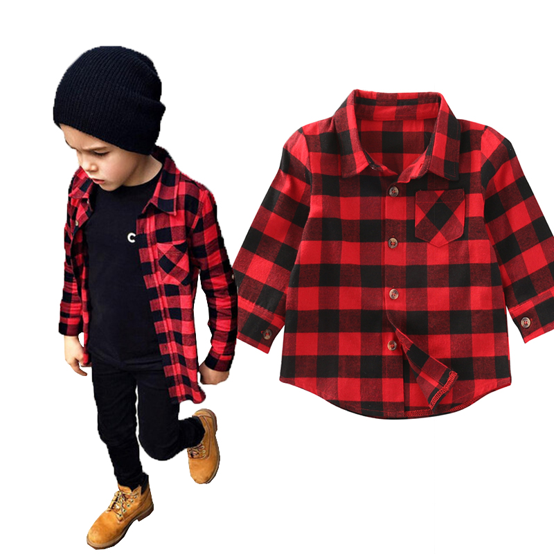 2017 Kid Long Sleeve Plaids   Shirts   Child Kids Boys Girl Unisex   Shirt   Plaid Check Tops   Blouse   Casual Clothes