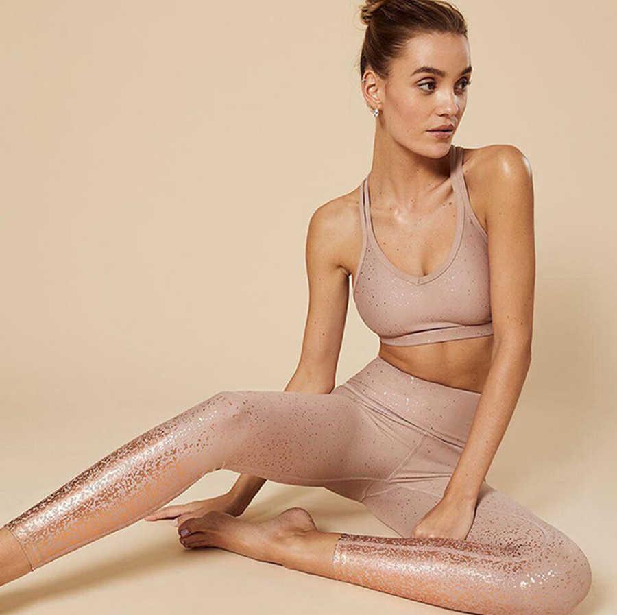 Hoge Taille Vrouwen Yoga Broek Metallic glitter Compressie Stretchy Gym Panty Tummy Controle Compressie Fitness training Broek