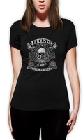 Lucky 7 Women T Shirt Biker Booze Live To Ride Choppers Bikers USA Skull Spade Fashion