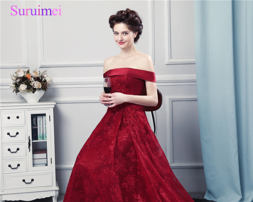 Wine Red Lace Evening Dresses Off The Shoulder High Quality Lace ...