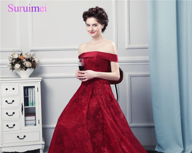 218fb4480e US $118.9 18% OFF|Wine Red Lace Evening Dresses Off The Shoulder High  Quality Lace Eveing Gown Corset Lace Up Formal Women Dresses Vestidos De-in  ...