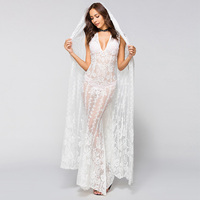 New Sexy Long Party Lace Dress Mermaid Boho Women White Gowns with Cape Vintage Dress Simple Transparent Engagement Dress Maxi