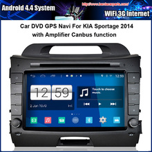 Android 4.4 1024*600 Capacitive Screen Car DVD For KIA Sportage 2014 With Amplifier GPS Navi Bluetooth Radio (Canbus function)