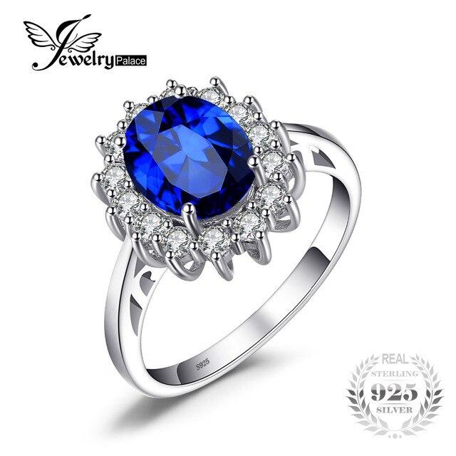 Jewelrypalace Принцесса Диана Уильям Кейт Миддлтон 3.2ct создан синий сапфир Обручение кольцо стерлингового серебра 925
