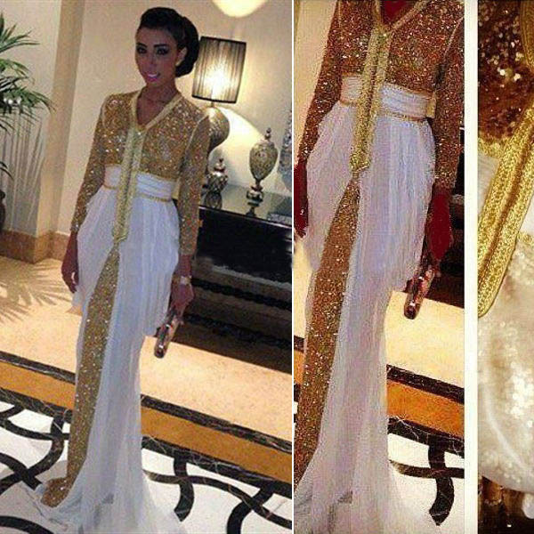 Real Picture Robe de Soiree 2015 Gold White Prom Dress Long Sleeve Evening Gowns Pleat Dresses Custom Made V neck - Weddings & Events Collection store