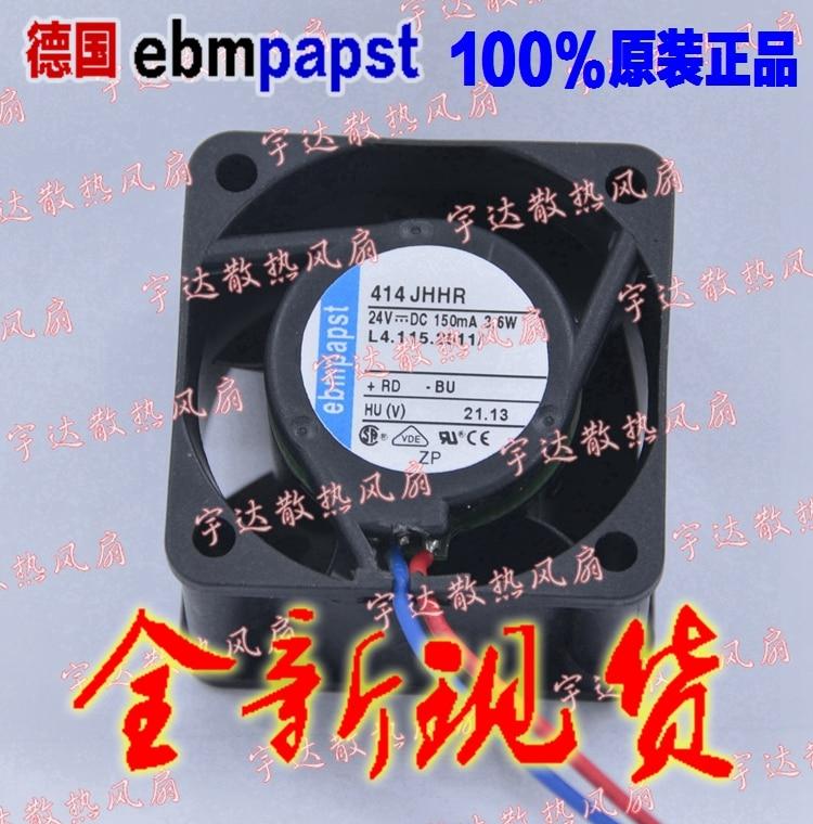 ebm-papst 414 JHHR DC 24V 150MA 3.6W 40x40x25mm 3-wire Server Square Fan free shipping for panaflo fba06t24h dc 24v 0 11a 3 wire 3 pin connector 60mm 60x60x15mm server square cooling fan