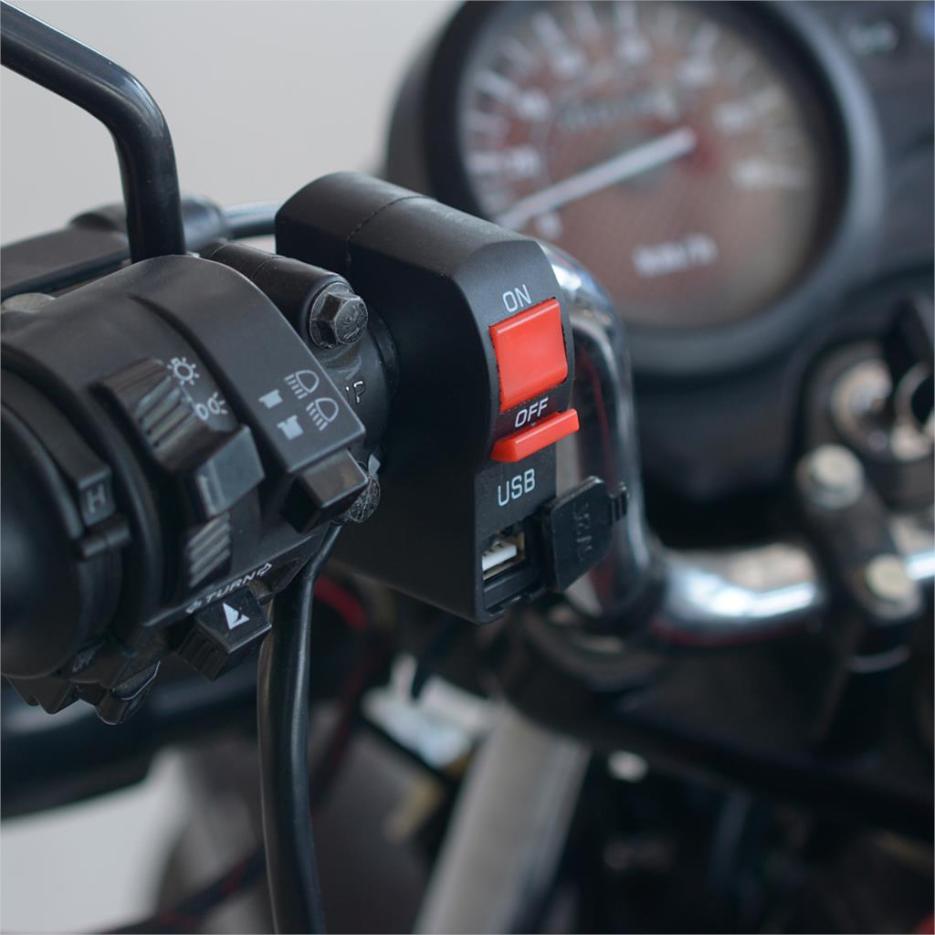 WUPP Electric Vehicle Motorcycle Modified Switch Headlight Spotlight Universal Handlebar Multi function With USB Charger 5V 2A in Motorcycle Switches from Automobiles Motorcycles