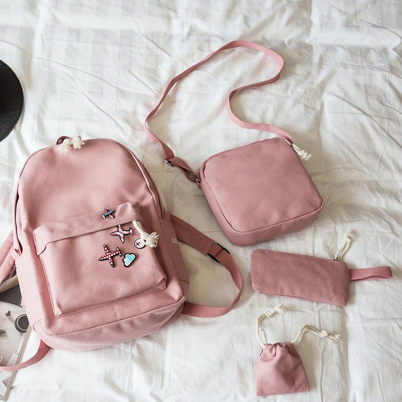 Menghuo 5 Pcsset Women Backpacks Cute Plane Badge School Bags For Teenage Girls Simple Canvas Backpacks Ladies Shoulder Bags (11)