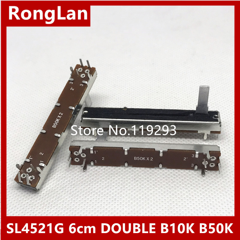 [BELLA]SL4521G 6cm 60MM Double Slide fader potentiometer B10K B50K B10KX2 handle length  ...