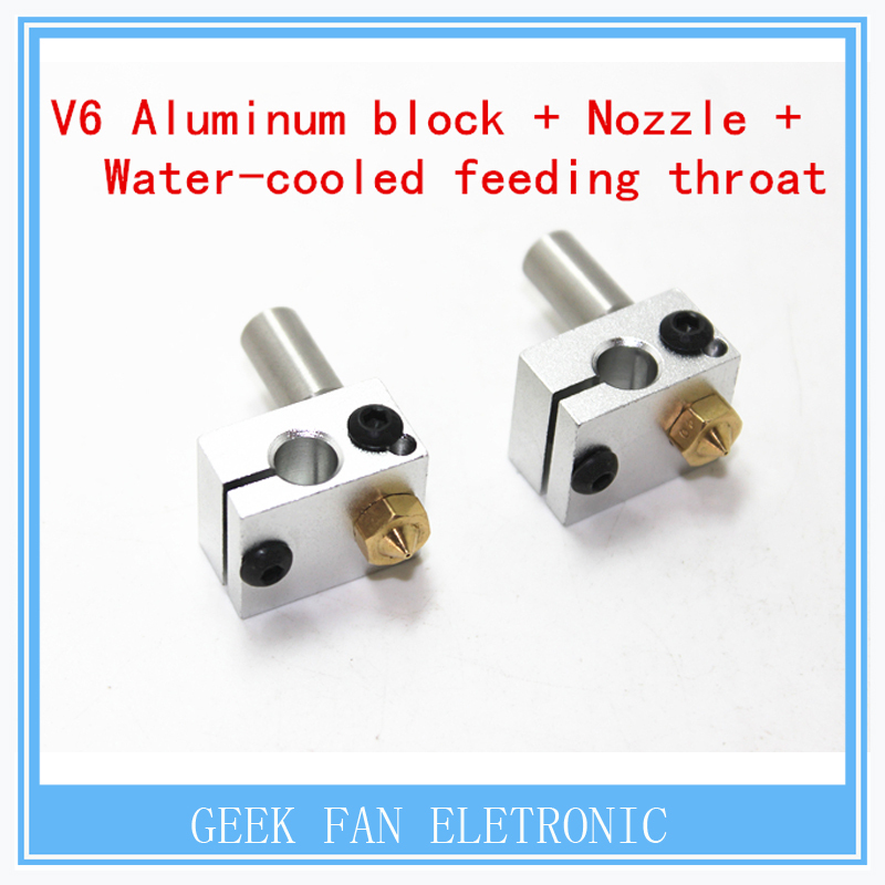 2pcs E3D parts V6 Aluminum block with the nozzle and Cold water pipes formula for the 3d printer