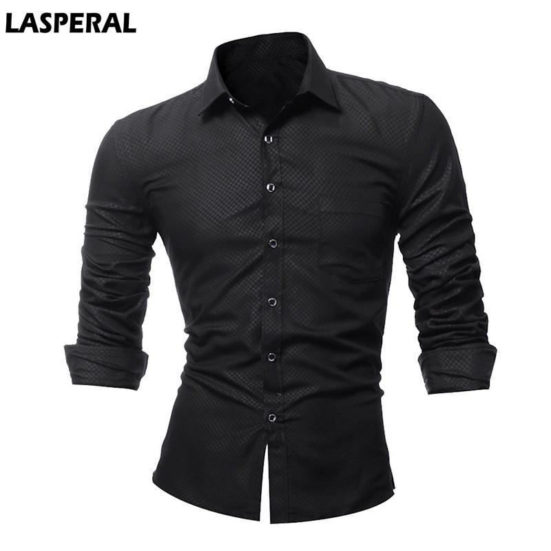 LASPERAL 2018 Casual Business Mens Shirts Fashion Plaid Long Sleeve Plaid Shirt Men Social Dress Shirts With Pocket Big Size 4XL