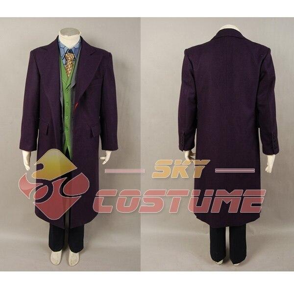 Batman Dark Knight Joker Purple Wool Trench Coat For Adult Men Halloween Movie Cosplay Costume