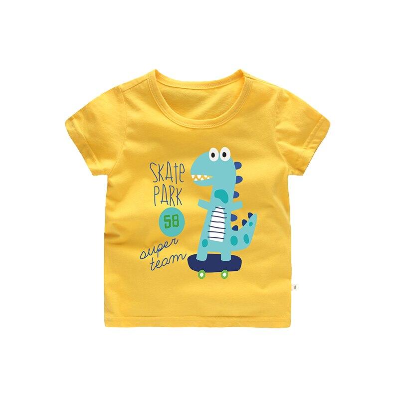 Skate Park Print Cartoon Dinosaur Boys kids t shirt Clothing Yellow Olive Blue Color O-neck Regular Length 2 3 4 5 6 7 Years Old