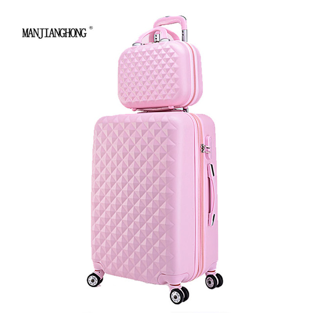 """20""""+12""""Hot sales Diamond lines Trolley suitcase set/travell case luggage/Pull Rod trunk rolling spinner wheels/ ABS boarding bag"""