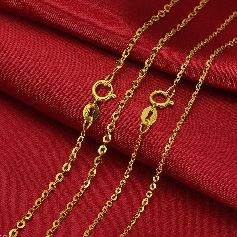 Puro mejor regalo collar de oro amarillo de 18K para mujer O cadena de enlace 0,8 1,2g 16 pulgadas-in Collares from Joyería y accesorios    1