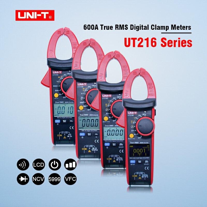 UNI-T UT216A UT216B UT216C UT216D LCD Display True RMS Digital Clamp Meters Auto Range AC/DC Resistance Capacitance NCV Function uni t ut216a auto range w ncv capacitance ac