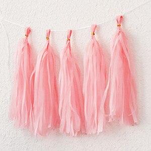 Image 3 - 5ピース/セットパステルティッシュペーパータッセルガーランド虹ユニコーンマカロンパステルカラー1st誕生日パーティーの装飾ベビーシャワーの結婚式