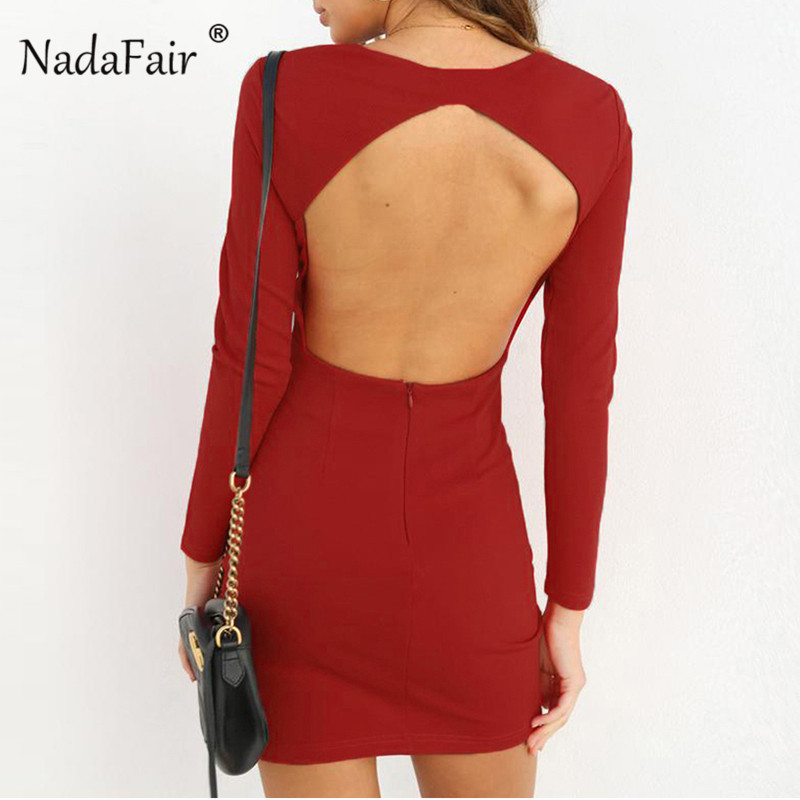 Nadafair backless hollow out bodycon sexy dress women long sleeve red black  autumn dress ruched wrap mini party dress vestido-in Dresses from Women s  ... 9c07c6054