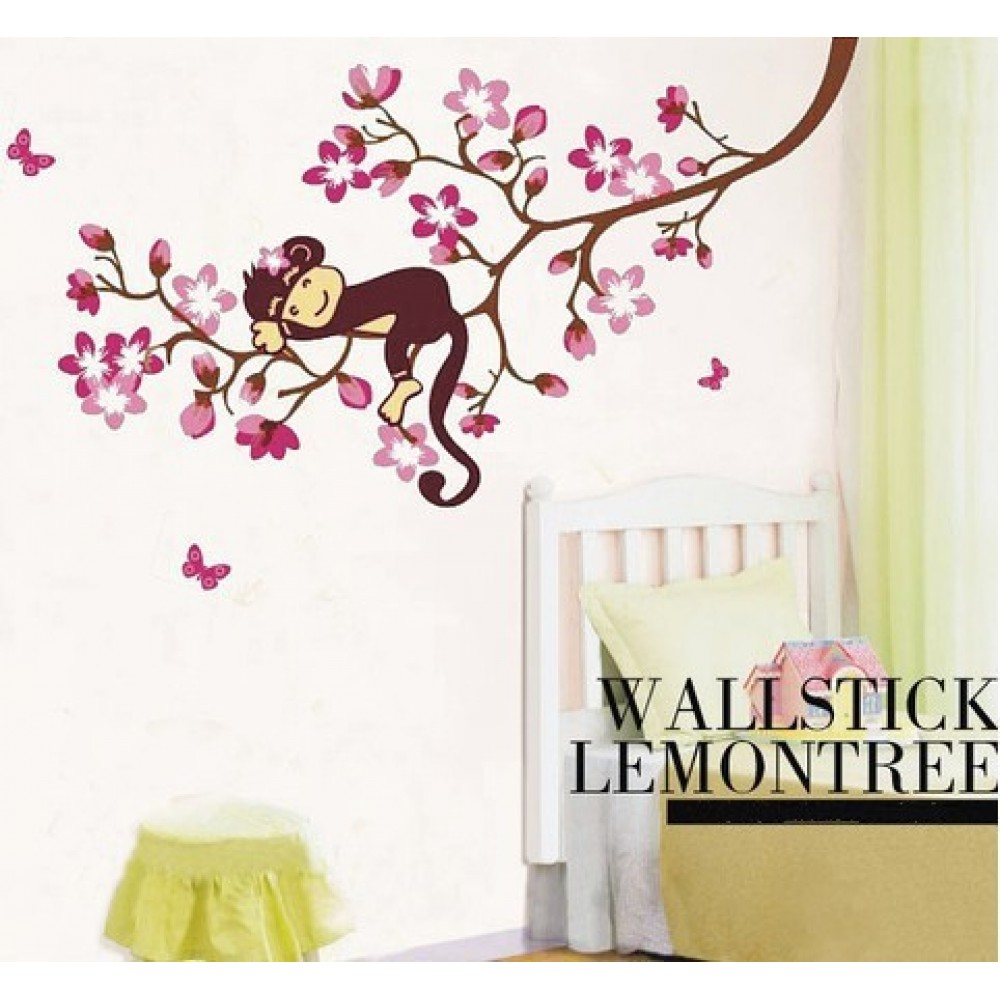 Blickfang Wandtattoo Blume Beste Wahl Affe Schlafen Auf Die Kirschblüte Baum Wandaufkleber