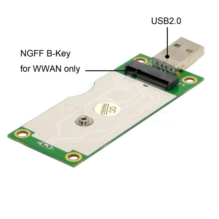 M.2 NGFF Wireless WWAN to USB Adapter Card with SIM Card Slot Module Testing Tools