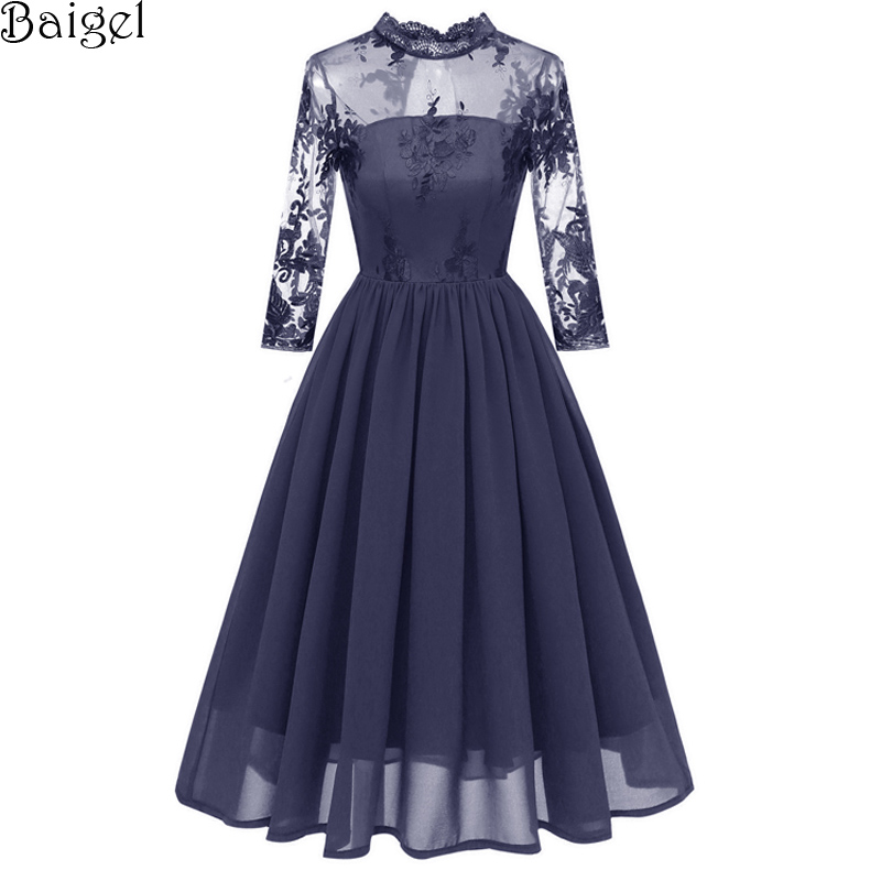 9429b0b8b27 Womens Half Turtleneck Chiffon Evening Party Dresses 3/4 Sleeve Floral Lace  Embroidery Mesh Vintage