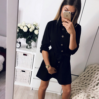 DeRuiLaDy Sexy Fashion Spring Women Shirt Dress Three Quarter Sleeve Black Office Workwear Mini Dresses Female