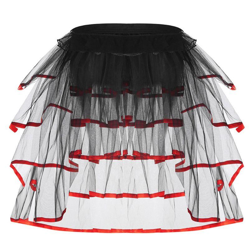 Womens Ballet Dance Tulle Tail Tutu Skirt Contrast Color Satin Trim Layered Ruffle Cake Party Bustle Bubble Underskirt Lingerie