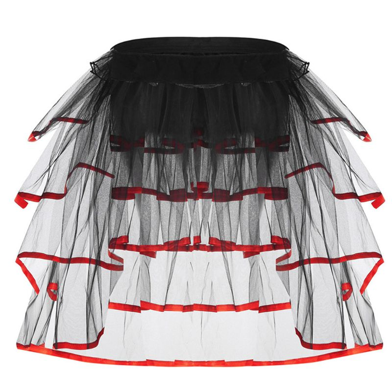 Womens Ballet Dance Tulle Tail Tutu Skirt Contrast Color Satin Trim Layered Ruffle Cake Party Bustle Bubble Underskirt Lingerie