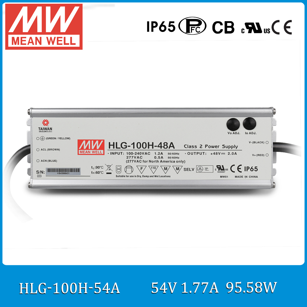 где купить Original MEAN WELL HLG-100H-54A 100W 54V 1.77A Waterproof power supply adjustable LED Power Supply with PFC по лучшей цене